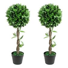 70 cm Artificial Topiary Bay Tree Pair Potted for Outdoor and Indoor Use