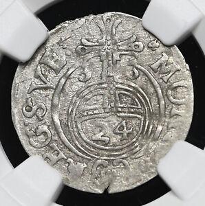POLAND. Gustavus Adolphus, 1630, Silver 1/24 Taler (3 Polker), NGC AU58