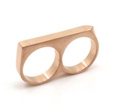 Rose Gold Plated Yakuza Two Finger Minimalist Bar Biker Jewelry Men Ring Sz 10