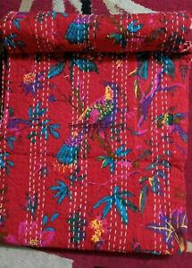 Bird Print Kantha Quilt Indian Bedding Bedspread Throw Blanket BedDecor Coverlet