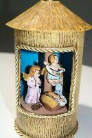 Unusual Vintage Revolving Nativity Music Box w/ Angels - Silent Night