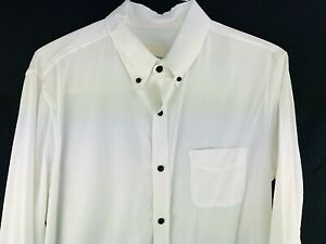 Band Of Outsiders Dress Shirt Mens XL White Classic Collar Textured Black Button