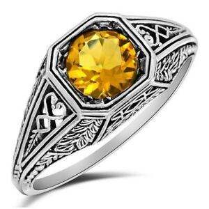 2CT Citrine 925 Solid Sterling Silver Ring Filigree Jewelry Sz 6, WF5