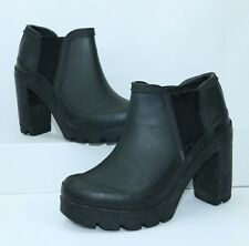 Hunter WOMEN'S Black Rubber Waterproof Heeled Rain Ankle Boots Size 8 US