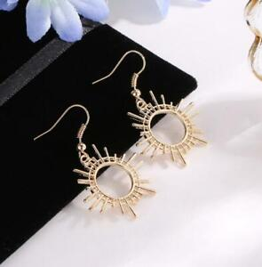 Women Fashion Punk Rock Gold Gear Dangle Ear Stud Drop Earrings Xmas Jewelry New
