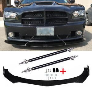 For Dodge Charger SRT RT SXT Front Bumper Lip Spoiler Splitter Black+ Strut Rods