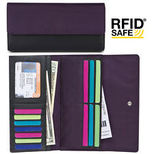 Ladies Wallet women Clutch hand purse organizer 13 card slots  RFID Block Purple