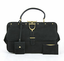 $3650 NEW GUCCI Doctor Lady Stirrup Range Suede Leather Bag Black 303885 1000
