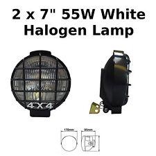 """2 X 7"""" Negro Coche Conducción Lámparas Halógenas Punto Van Redondo Luces Parrillas 4x4 - 789"""
