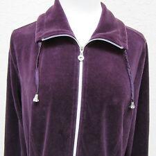 Zenergy by Chico's Women's Size 2 Dark Purple Velour Zip Up Jacket
