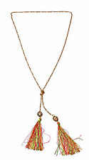 LONG CHAIN GOLD-TONED NECKLACE ORNAMENTAL BEADS & TASSELS (ZX18)