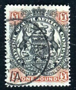 BRITISCH SÜDAFRIKA COMPANY 1897 56 gestempelt ONE POUND guter WERT 350€(D9665