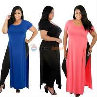 Plus Size Sexy Women's High Split Long Tops Blouse Cocktail Open Side Maxi Dress