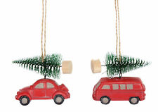 2 X Assorted Gisela Graham Car & Camper Van Hanging Christmas Tree Decoration