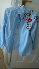 M&S striped floral embroidered blouse sz 14