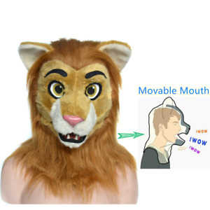 Realistic Fursuit Hood Animal Lion Costume  Headgear Cosplay Movable Mouth