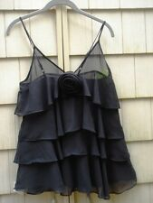 NWT Romeo & Juliet Couture BLACK Ruffle Neck Camil Top ze medium