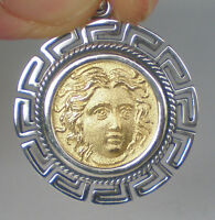 Helios Ancient Sun God Silver Pendant(Gold Plated) Meander - Rhodes Helius