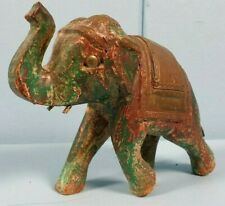 ELEPHANT INDIAN MADE FIGURINE GREEN BRASS VINTAGE