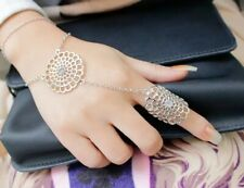 Wedding Faux Pearl Link Finger Ring Slave Chain Hand Harness Bracelet Bangle  UK