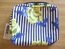 NEW LESPORTSAC Cosmetic Make Up Bag XL Rectangular Rosy Dreams Blue
