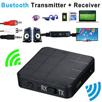 Bluetooth 5.0 Transmitter Receiver 2-in-1 Wireless Audio Aux 3.5mm Adapter Fast