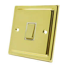 Victorian Polished Brass Light Switch 10 Amp 1 Gang 2 Way (White)