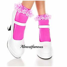 Vintage Lace Ruffle Frilly Ankle Socks Fashion Ladies Black White Retro UK Stock Hot Pink No Bow