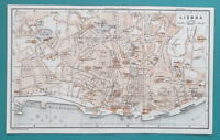 "1934 MAP 6 x 10"" (15 x 25 cm) - PORTUGAL Lisbon City Plan & Environs"