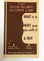 Your Social Security Account Card Instructions Vintage 1940's Pamphlet