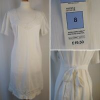 Marks & Spencer White Cotton Lace Hem Midi Dress Tie Waist Size UK 8 EU 36 BNWT