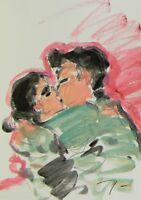 JOSE TRUJILLO - Acrylic Painting on Paper Couple Lovers Romantic Kissing Kiss