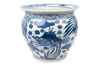 "Blue and White Porcelain Fish Motif Fish Bowl 15"" Diameter"