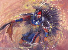 Southwestern ArIzona DANCING WARRIOR Indian 18x24 Giclee Art Canvas