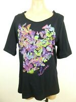 Lane Bryant Womens Hooded Top 14 16 Love Butterfly Print Scoop Neck Short Sleeve