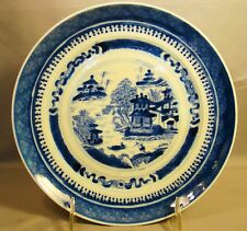Antique Chinese Export Porcelain Blue & White Nanking Plate 19th c Canton