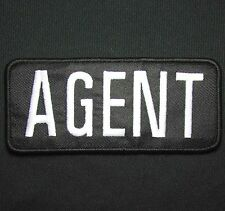 AGENT WHITE BLACK UNIFORM EMBROIDERED PATCH PANEL HOOK & LOOP  5X2.25