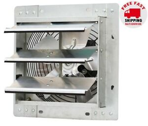 "Electric Shutter Exhaust Fan 10"" Variable Speed 600 CFM Attic Garage Ventilation"