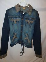 Apple Bottoms Womens Large Blue  Embroidered Jean Jacket Elbow Patches