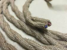 FLAX ANTIQUE BRAIDED / WOVEN SILK / FABRIC LAMP CABLE WIRE CORD LIGHT