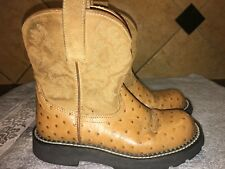 Euc Ariat 14728 Ostrich Embossed Tan Leather Cowboy Western Boots Sz 5.5 B