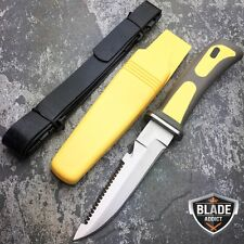 "New 9"" Yellow/ Black Scuba Diving Knife w/ Drop Point Blade + Leg Strap Sheath"