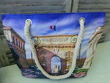 Montpellier Arc de Triomphe Canvas Beach Bag Shopper Market Bag Tote France