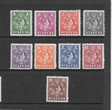 1949 King George VI SG146 to SG154 short set of 9 Stamps Mint Hinged ST LUCIA
