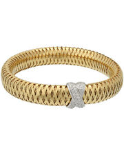 Roberto Coin 18K Yellow & White Gold Mesh Diamond Bangle 557772AJBAX0 MSRP $4600