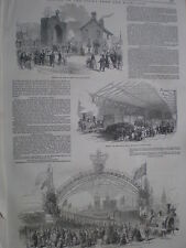 Queen Victoria at Cupar and Newcastle high level bridge 1849 print