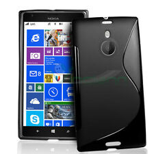 NUOVA Custodia WAVE NERA per Nokia Lumia 1520 flessibile opaca+lucida TPU