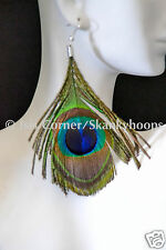 "NEW 3.5"" DROP FASHION PEACOCK  FEATHER DANGLE EARRINGS (FREE SHIPPING)"