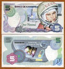 New listing Kamberra, Kingdom, 5 Numismas, 2011, Unc > Yuri Gagarin > Commemorative
