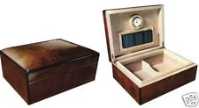 75 Count Cigar High Gloss Walnut Burl Finish Domed Top Humidifier Hygrometer
